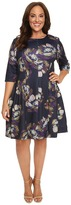 Christin Michaels Plus Size Emellie 3/4 Sleeve Fit and Flare Dress