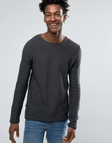 Solid Ribbed Sweater In Gray With Raw Neck