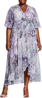 City Chic Floral Chiffon Wrap Dress