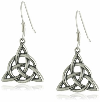 Celtic Sterling Silver Oxidized Triquetra Trinity Knot Dangle Earrings