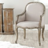 Safavieh Old World Dining Arles Beige/ Antiqued Oak Finish Nailhead Arm Chair