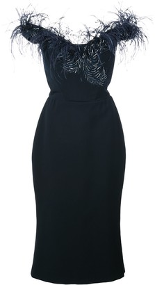 Marchesa Feather Trim Fitted Dress