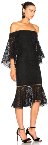 Nicholas Moroccan Tile Off Shoulder Midi Dress in Black.