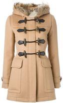 Burberry trimmed hood duffle coat - women - Wool/Racoon Fur - 10