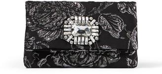 Jimmy Choo TITANIA Black Brocade Fabric Clutch Bag with Crystal Buckle