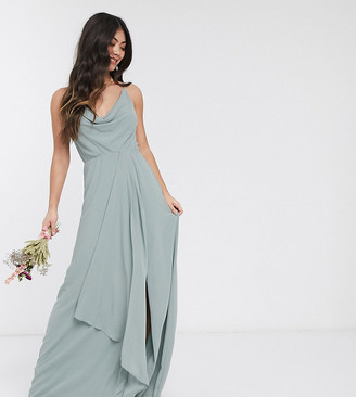 TFNC Petite bridesmaid cowl neck cami strap maxi dress with train in sage