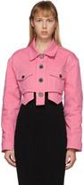 Balmain Pink Denim Cropped Jacket