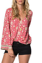 O'Neill Landon Floral-Printed V-Neck Bell-Sleeve Peasant Top