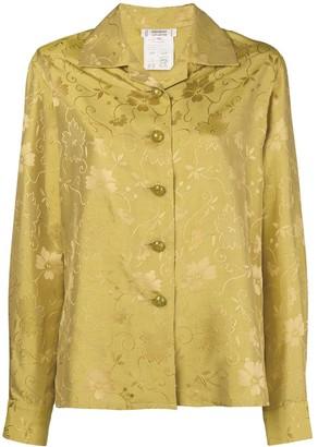 Saint Laurent Pre-Owned 1980's floral jacquard open collar shirt