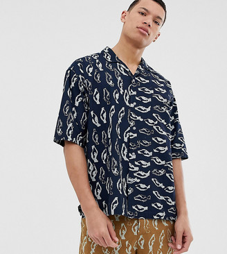 ASOS Tall two-piece boxy shirt in abstract print heavy crinkle cotton