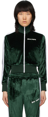 Palm Angels Green Chenille Cropped Zip-Up Sweatshirt
