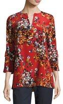 Lafayette 148 New York Sela Drawstring-Sleeve Expressionist Azalea-Print Silk Blouse, Flame Multi