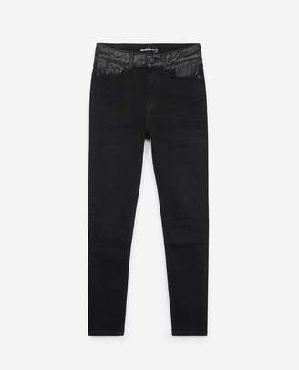 The Kooples Slim-fit black jeans with leather insert