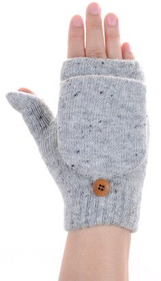 Be Your Own Style BYOS Womens Winter Plush Fleece Lined Convertible Fingerless Knit Mitten Gloves - Grey - One Size