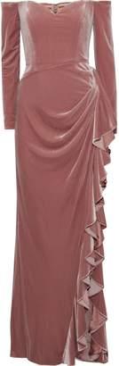 Badgley Mischka Off-the-shoulder Draped Velvet Gown