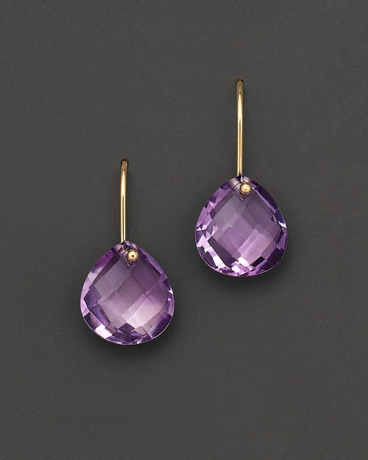 Bloomingdale's Amethyst Drop Earrings in 14 Kt. Yellow Gold