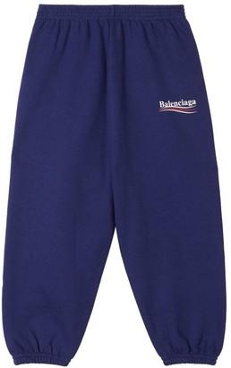 Balenciaga Kids Logo-print Cotton-blend Track Pants - Blue Multi