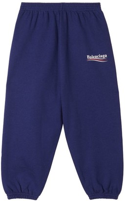 Balenciaga Kids - Logo-print Cotton-blend Track Pants - Womens - Blue Multi