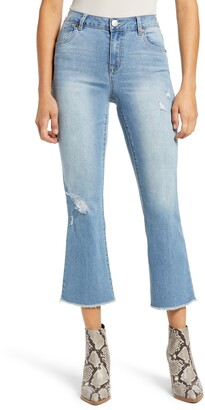 1822 Denim Re:Denim Distressed High Waist Crop Bootcut Jeans