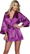 Dreamgirl Women's Shalimar Charmeuse Babydoll with Robe & Padded Hanger