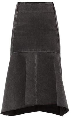 Balenciaga Godet-insert Denim Skirt - Womens - Black