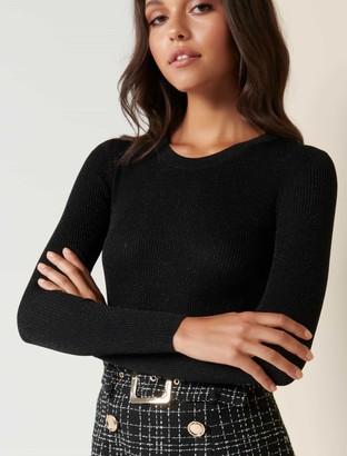 Forever New Bella Metallic Knit Top - Black Shimmer - l