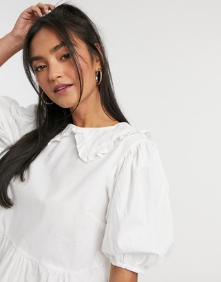 Influence cotton poplin peter pan collar blouse in white