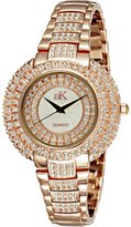 Adee Kaye #AK9-30LRG/CR Women's Rose Tone Dazzling Bling Collection Crystal Accented Watch
