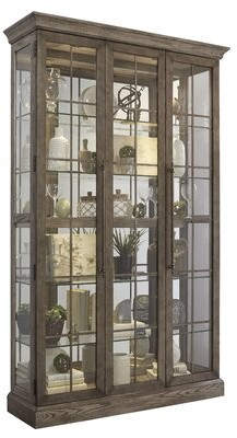 Giovanny Window Pane Door Display Lighted Curio Cabinet Gracie Oaks