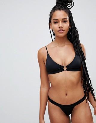 Twiin ribbed ring detail micro crop bikini top in black