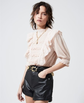 The Kooples Frilly light pink top with smocked waist