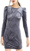 Oasis NTU Embossed Puff Sleeve Dress, Dark Grey