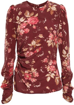 Zimmermann Unbridled Draped Floral-print Stretch-silk Crepe Top