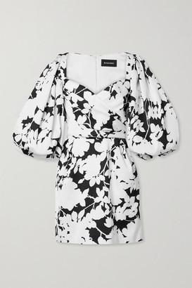 Rasario Gathered Floral-print Satin Mini Dress - White