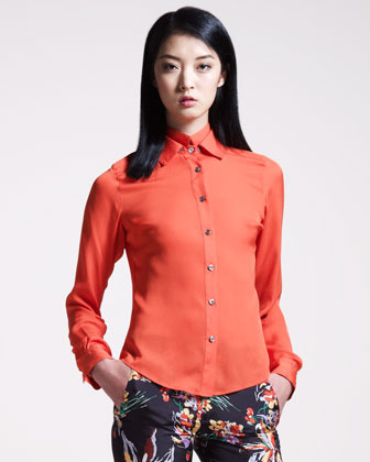 Derek Lam 10 Crosby Double-Collar Blouse