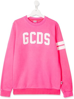 Gcds Kids TEEN logo print relaxed-fit sweatshirt