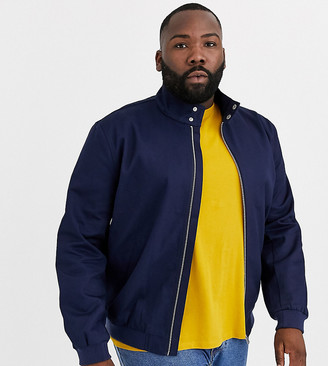 ASOS DESIGN Plus harrington jacket with funnel neck in navy