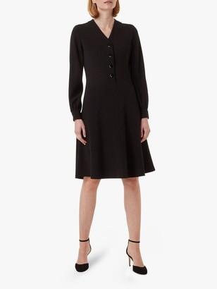 Hobbs Lillian V-Neck Long Sleeved Dress, Black