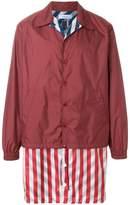 Facetasm striped layered padded jacket