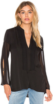 Halston Deep V Sheer Sleeve Top