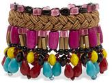 Etro Gold-tone, Bead And Wood Bracelet - Purple