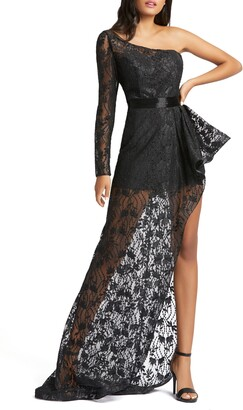 Mac Duggal One-Shoulder Asymmetrical Lace Gown