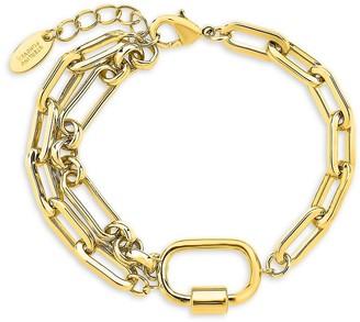 Sterling Forever Goldplated Double Chain Link Polished Carabiner Bracelet