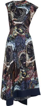 3.1 Phillip Lim Twist-front Patchwork Printed Silk-twill Midi Dress