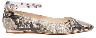 Sophia Webster Dina Crystal-strap Python-effect Leather Flats - Womens - Python