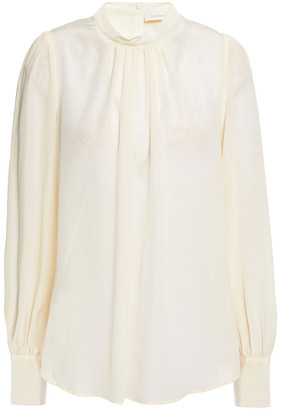 Zimmermann Gathered Silk Crepe De Chine Blouse