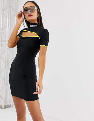 New Girl Order high neck bodycon dress with cut out and contrast piping with logo neck-Black