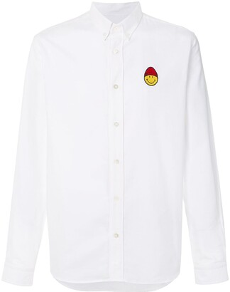 Ami Paris Button-Down Smiley Patch Shirt