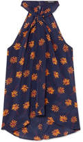 Madewell Floral-print Silk Crepe De Chine Top - Navy