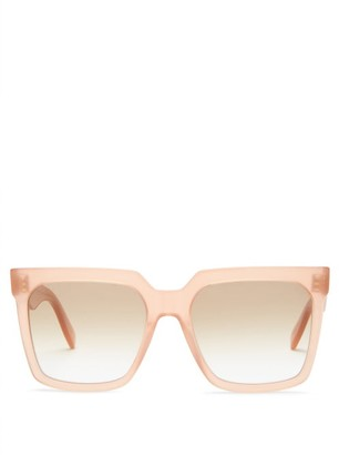 Celine Flat-top Oversized Square Acetate Sunglasses - Light Pink